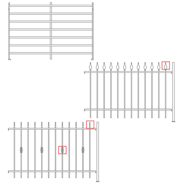 Fencing with smooth posts and horizontal U profile